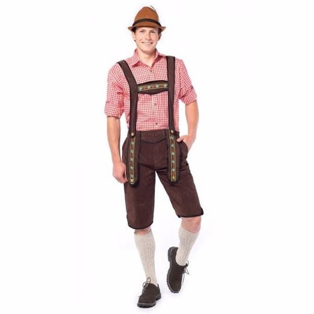 Oktoberfest Voordelige lange Oktoberfest lederhose donker bruin voor heren - bierfeest kleding 50 (M)
