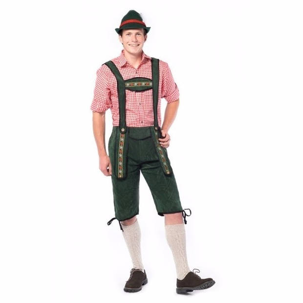 Oktoberfest - Voordelige lange Oktoberfest lederhosen donker groen voor heren - bierfeest kleding 48 (S)