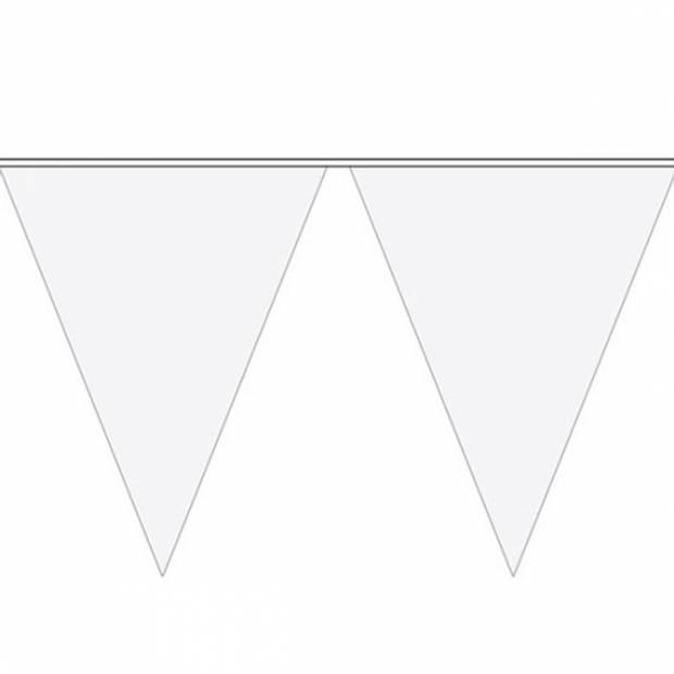 Witte plastic bruiloft decoratie vlaggenlijn - 10 meter