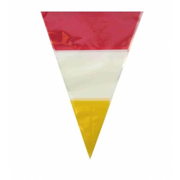 Plastic vlaggenlijn rood/wit/geel