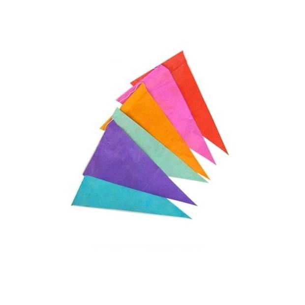 Papieren vlaggenlijn veelkleurig 10 meter - Feestversiering - Slingers