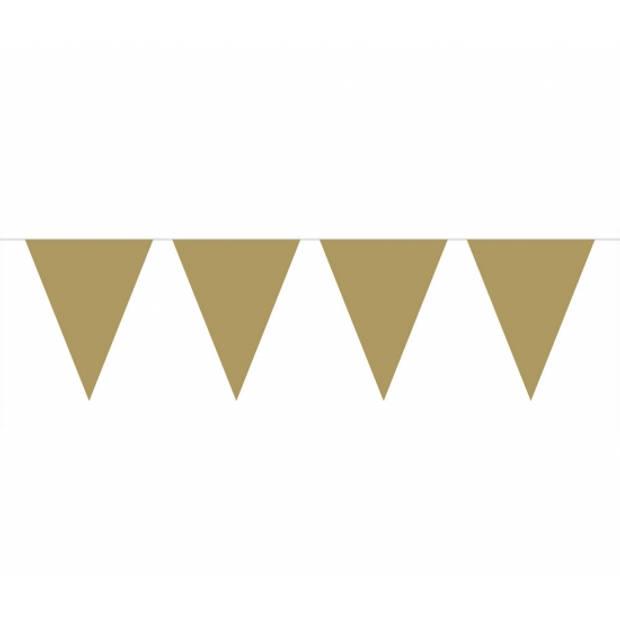 Gouden metallic glanzende vlaggenlijn - 10 meter - slinger goud