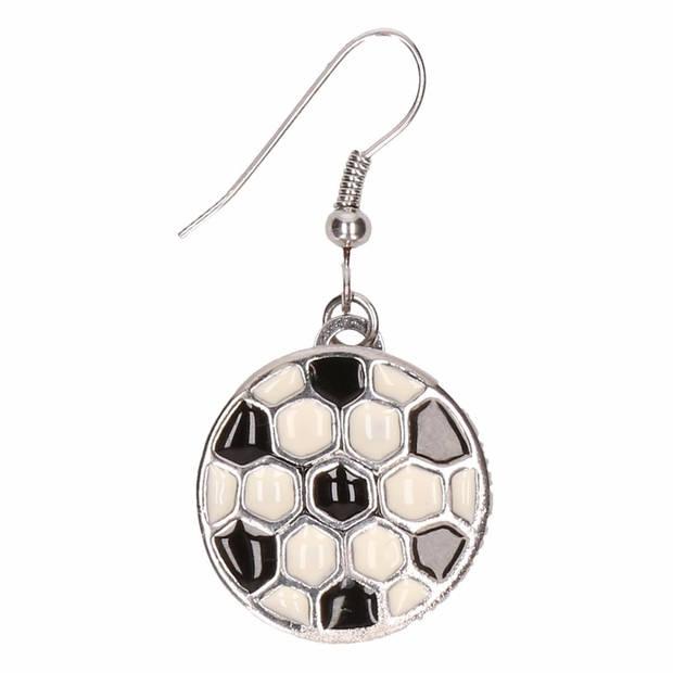Zilveren voetbal supporter oorbellen voor volwassenen