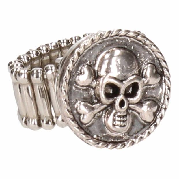 Zilveren piraten ring zwart voor volwassenen