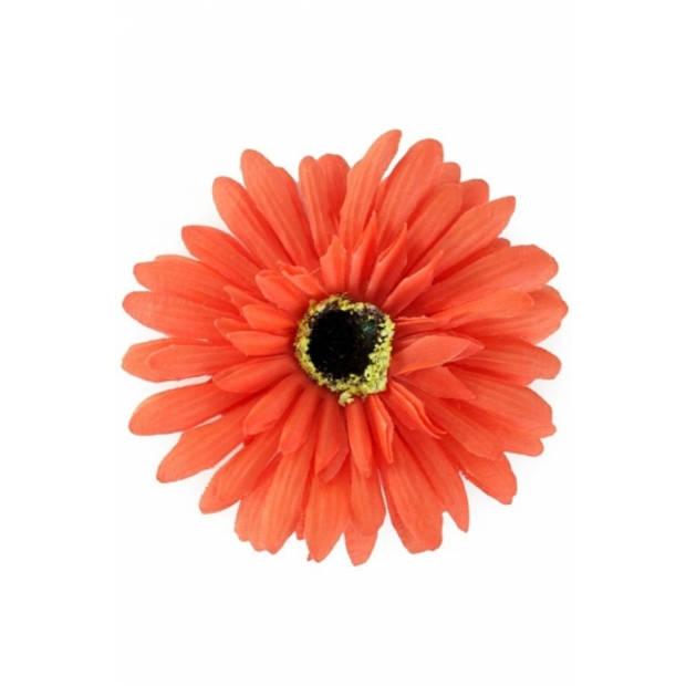 Haarbloem gerbera oranje met clip - Supporters verkleed feestartikelen