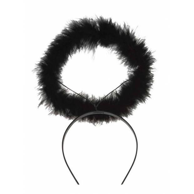 Engeltjes diadeem zwart met halo halloween verkleed accessoire