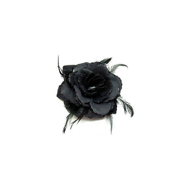 Haarbloem zwarte roos - Haar accessoires- Haarbloemen