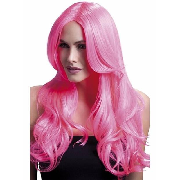 Luxe neon roze pruik met lange pony en krullen