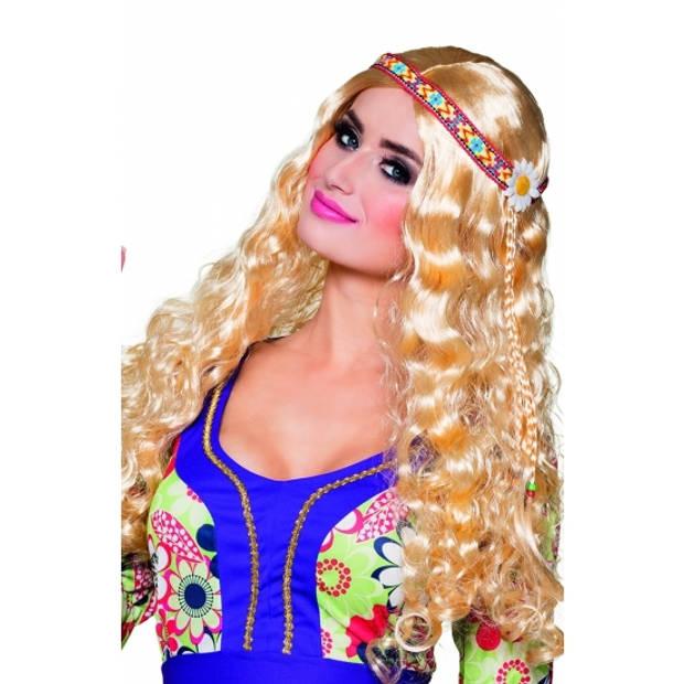 Blonde Hippie/Flower Power/Sixties thema verkleed damespruik met haarband