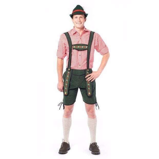 Oktoberfest Voordelige korte Oktoberfest lederhosen donker groen voor heren - bierfeest kleding 50 (M)