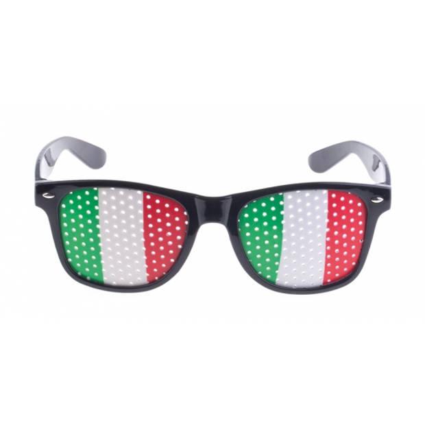 Zwarte Italie vlag bril voor volwassenen - Supporters verkleed accessoires