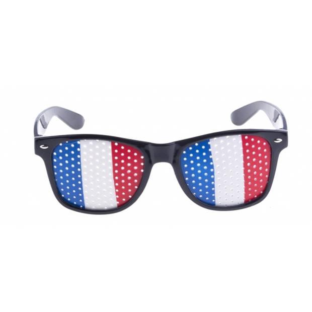 Zwarte Frankrijk vlag bril voor volwassenen - Supporters verkleed accessoires