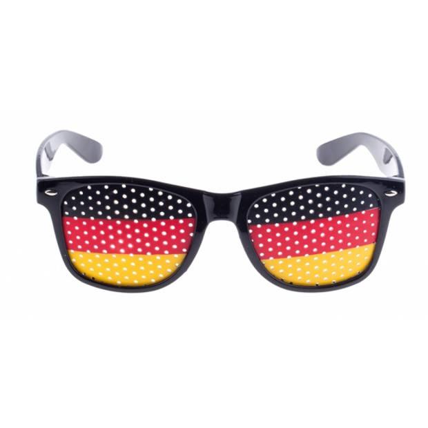 Zwarte Duitsland vlag bril voor volwassenen - Supporters verkleed accessoires