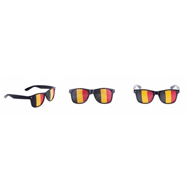 Zwarte Belgie vlag bril voor volwassenen - Supporters verkleed accessoires