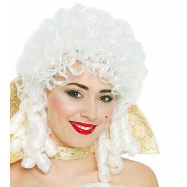 Middeleeuwse pruik wit voor vrouwen