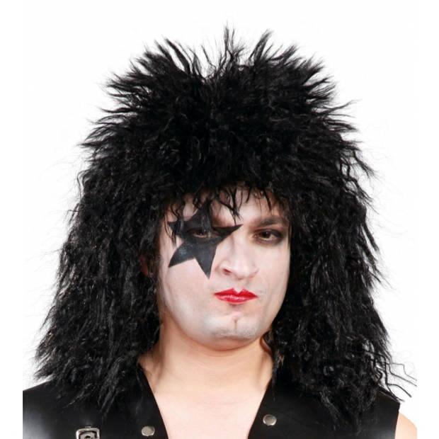 Halloween Kiss rock ster pruik zwart voor heren