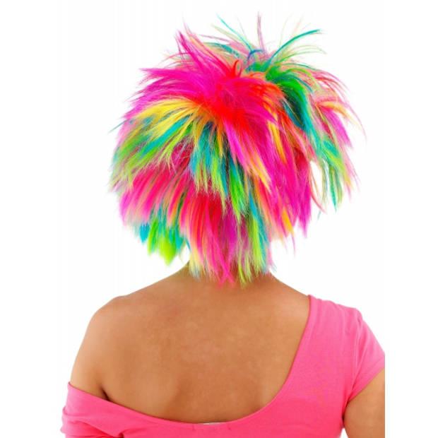 Rock and roll dames pruik gekleurd - fel gekleurde dames punk pruiken