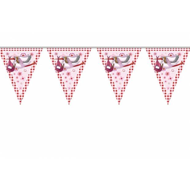 1x stuks Vlaggenlijn geboorte meisje 6 meter feestartikelen en versiering