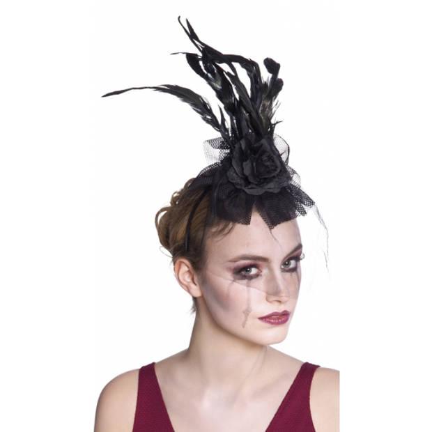 Haarband zwarte roos met sluier