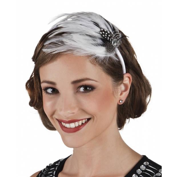 Haarband met witte veren