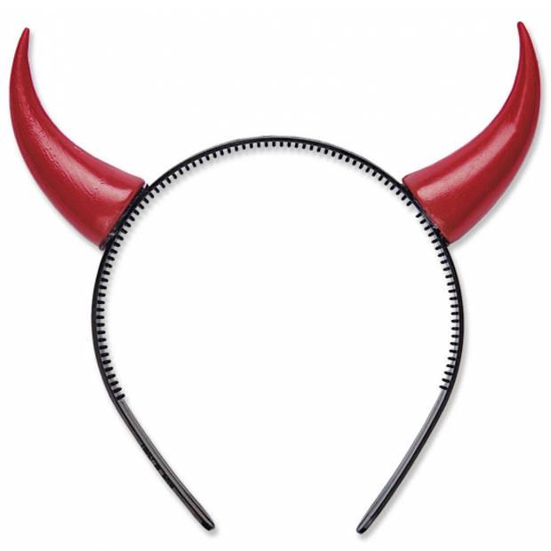 Rode duivel hoorns op diadeem - Rode duivels Belgie thema of vrijgezellen feest outfit