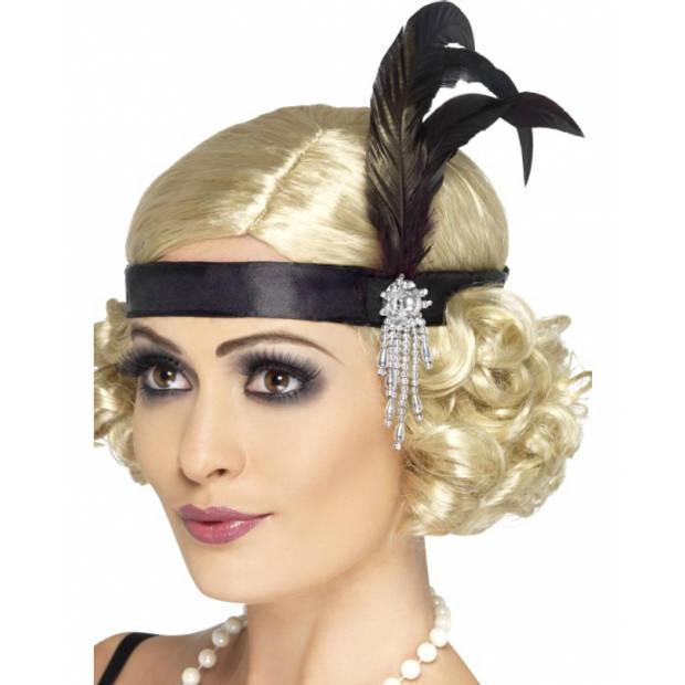 Zwarte flapper hoofdband met veer verkleedaccessoire voor dames - Charleston/jaren 20 Great Gatsby feestartikelen