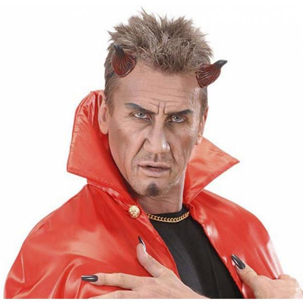 Duivelshoorns met elastiek rood/zwart - verkleed accessoires voor Halloween