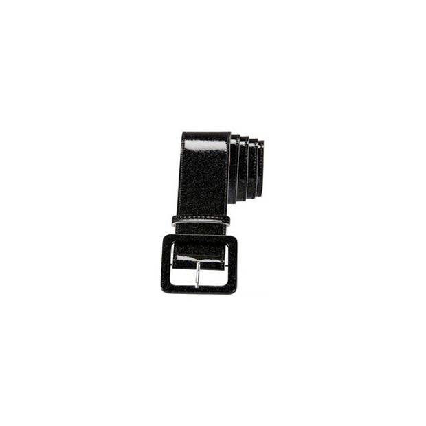 Zwarte glitter riem 120 cm - Verkleedkleding - Feestartikel