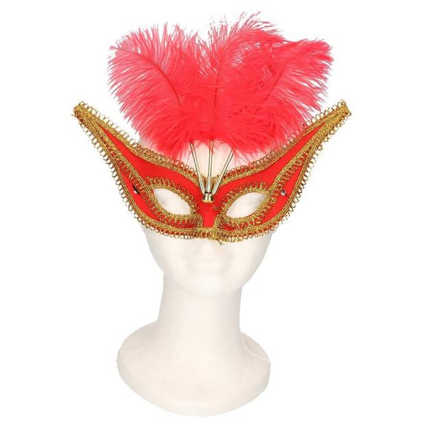 Oogmasker rood/goud met veren voor volwassenen - Gemaskerd bal/gala feest accessoires - Venetiaanse maskers
