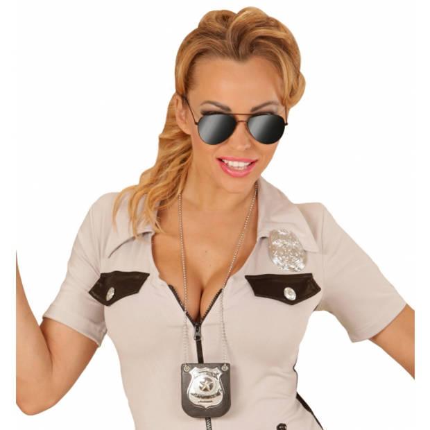 Politie ketting met badge - politie speelgoed verkleed accessoires