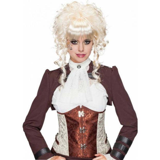 Blonde pruik opgestoken krullend haar