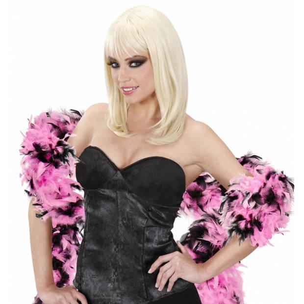 Zwart/roze boa 180 cm