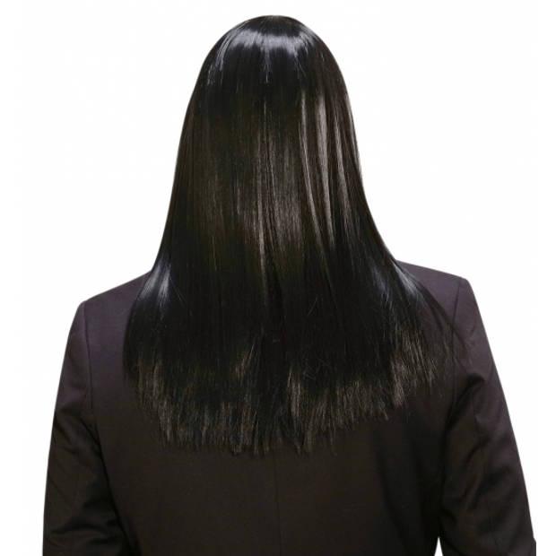 Zwarte lange pruik voor heren
