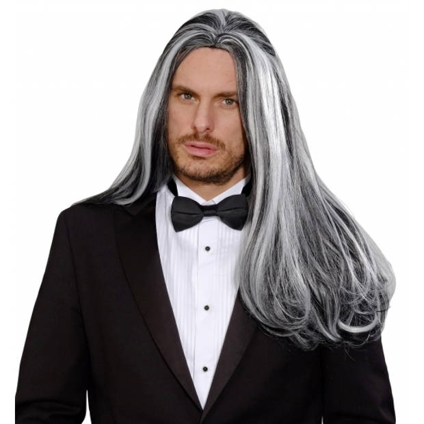 Victoriaanse zwart/grijze vampier pruik - Carnaval/verkleedaccessoires - Lange heren pruiken - Vampier/gothic pruik