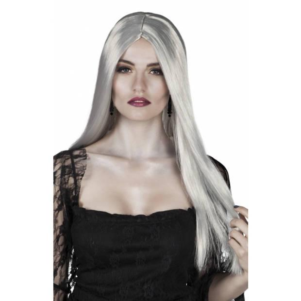 Heksenpruik lang grijs haar