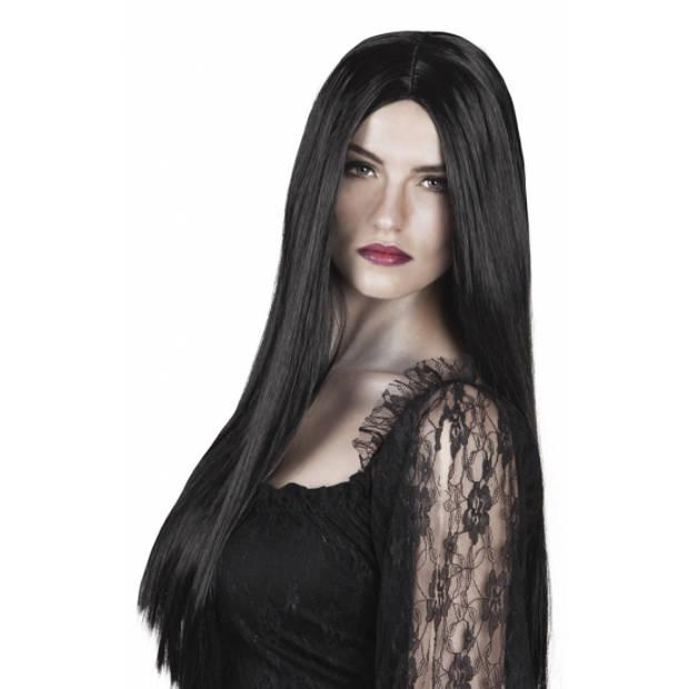 Heksenpruik lang zwart haar