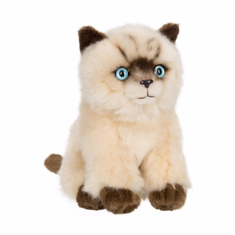 Afbeelding van Anna Club pluche Siamese kat/poes knuffel zittend 15 cm
