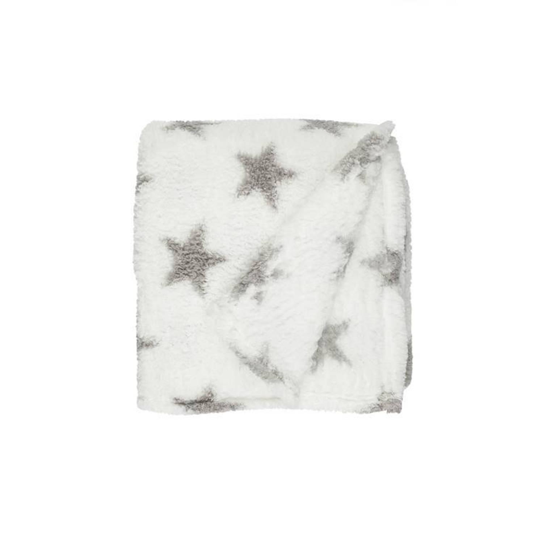 Unique Living Stars fleece plaid - 100% polyester, Fleece polyester - 150x200 cm - Wit, Off white