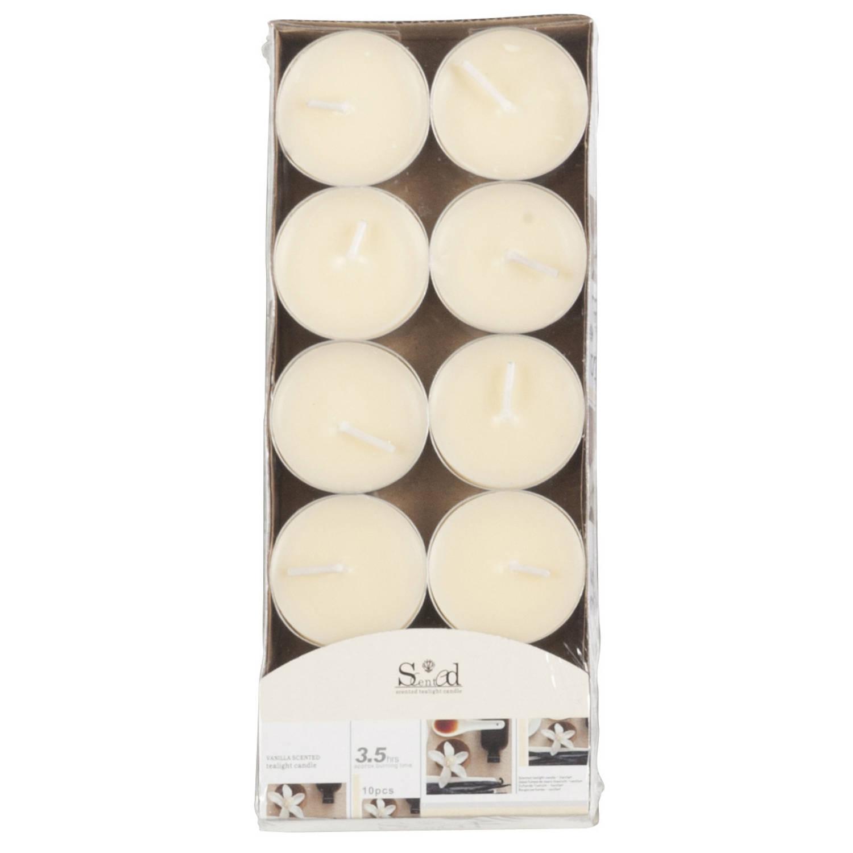 Korting 10x Geurtheelichtjes Vanille cremewit 3,