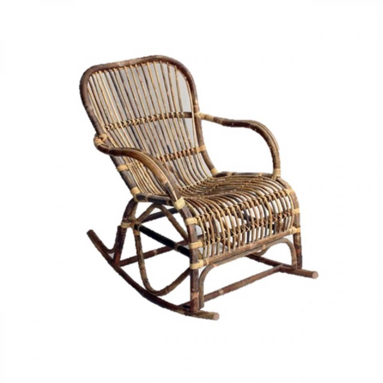 Van der Leeden schommelstoel spider - 95 x 56 x 86 cm - rotan - grijs