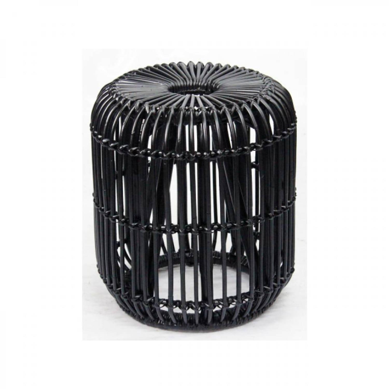 Van der Leeden kruk - 35 x 35 x 45 cm - rotan - zwart