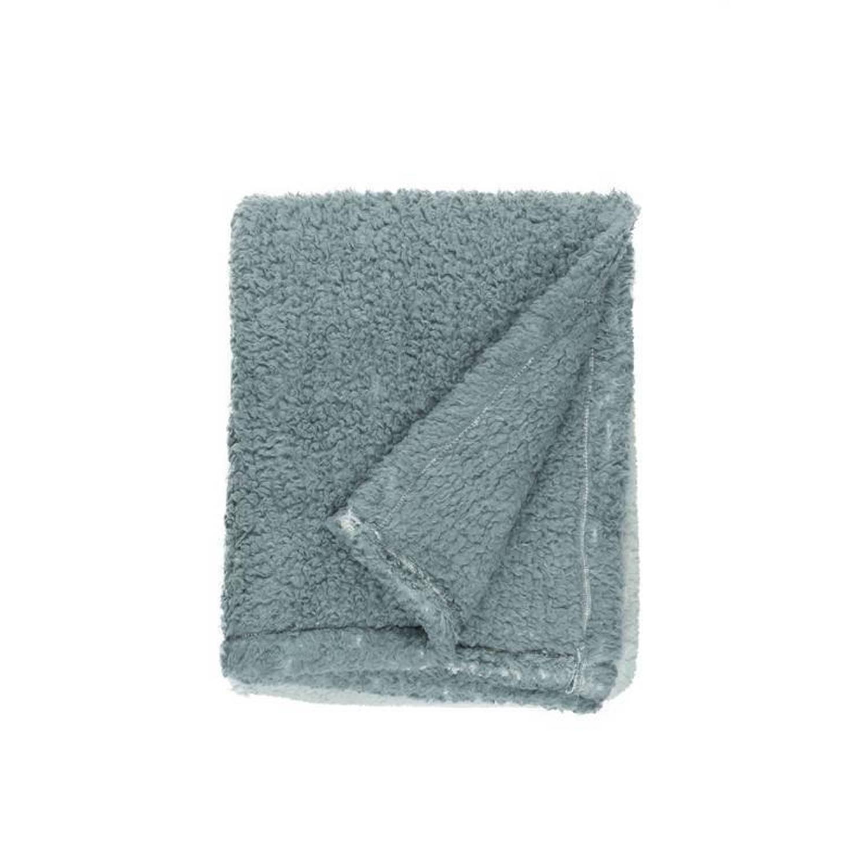Unique Living Ivar fleece plaid - 100% polyester, Fleece polyester - 130x160 cm - Groen, Mineral Blue