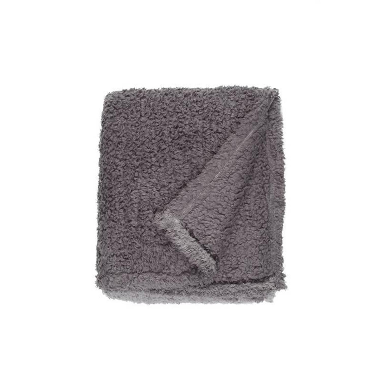 Unique Living Ivar fleece plaid - 100% polyester, Fleece polyester - 130x160 cm - Grijs, Dark grey