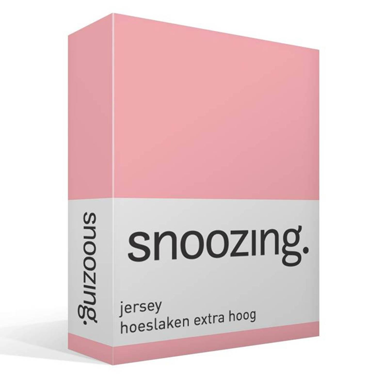 Snoozing - Hoeslaken - Extra Hoog - Jersey - 180x210 /220 - Roze