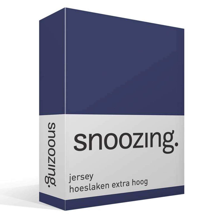 Korting Snoozing Hoeslaken Extra Hoog Jersey 140x200 Navy