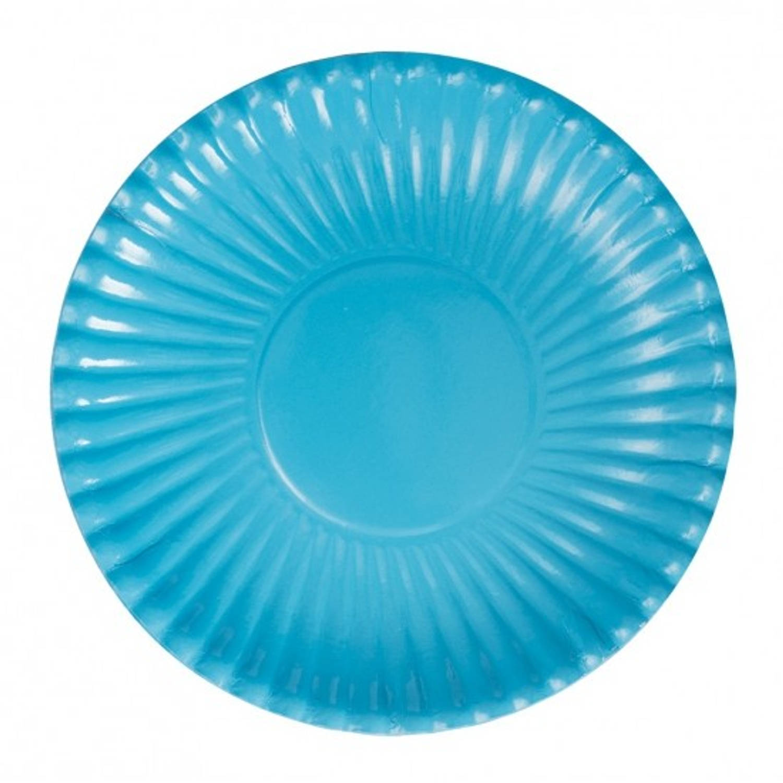 Korting Platte Kartonnen Bordjes Turquoise 23 Cm