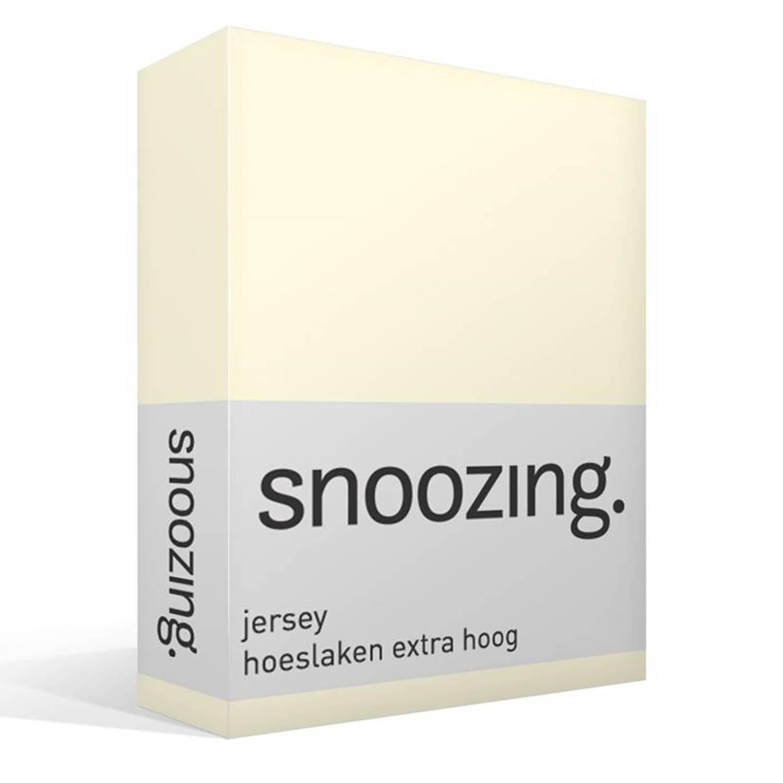 Snoozing jersey hoeslaken extra hoog - 100% gebreide katoen - Lits-jumeaux (200x200 cm) - Ivoor
