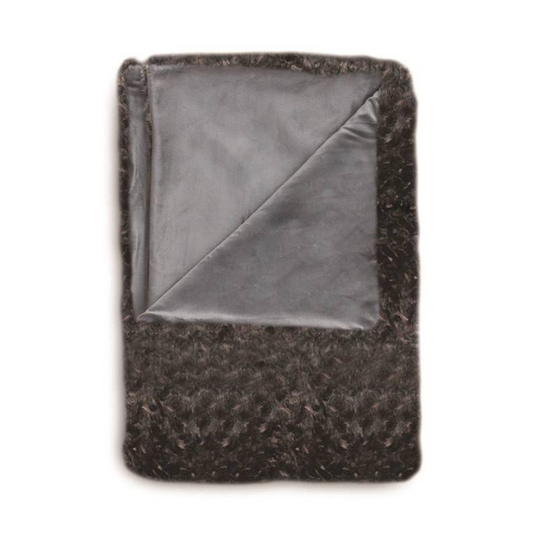 Heckett & Lane Sheba plaid - Voorkant: 100% acryl, achterkant: 100% polyester - 150x220 cm - Zwart