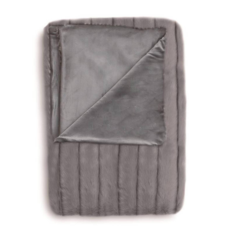 Heckett & Lane Foxy plaid - Voorkant: 65% acryl - 35% polyester, achterkant: 100% polyester - 140x220 cm - Grijs