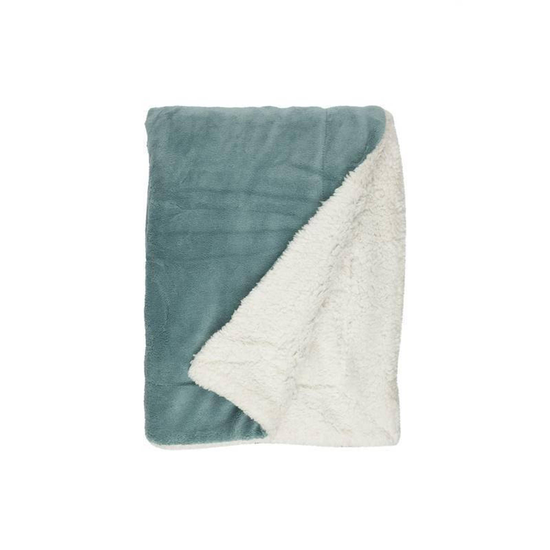 Unique Living Lars fleece plaid - 100% polyester, Fleece polyester - 150x200 cm - Blauw, Mineral Blue
